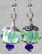 BlueGreen Pinwheel Earrings